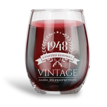 Birthday Gifts for Women and Men, Personalized 15 oz. Stemless Wine Glass | Aged to Perfection | Vintage Ruby Anniversary Gift Ideas