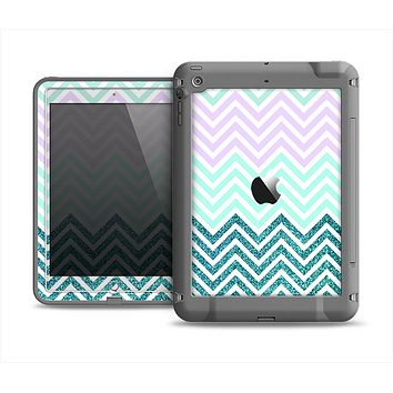The Light Teal & Purple Sharp Glitter Print Chevron Apple iPad Mini LifeProof Fre Case Skin Set