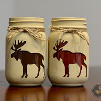 Holiday Decoration, Reindeer Decorations, Rustic Mason Jar Decor, Moose Mason Jar, Moose Decor, Cabin Decorations, Rustic Cabin, Pint Mason