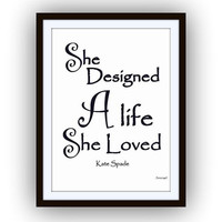 she designed a life she loved , kate spade quotes art, word decal, Printable vanity Wall decor, decals, print, girl, quote decoration