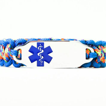 Personalized Thin Kids Medical Alert ID Paracord Bracelet w/ Stainless Steel Engraved ID Tag - Blue Medical Symbol