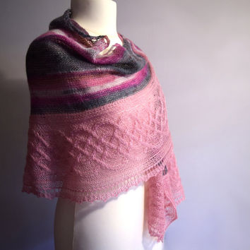 Wedding shawl, pink and gray mohair shawlette, womens scarf, crescent shape, gift for wife, gift for women, gift for mom