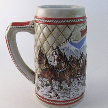 Vintage Stein Mug Holiday Budweiser Beer Stein: 1985 Snow Capped Mountains Collectible Mug.