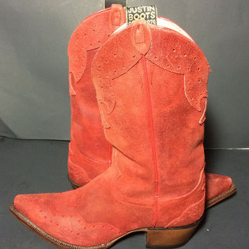Justin Red Leather Western Cowgirl Cowboy Boots Women's Size 8.5