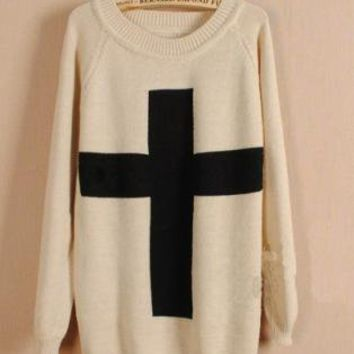 A 071005 Cross sweater, Loose sweater