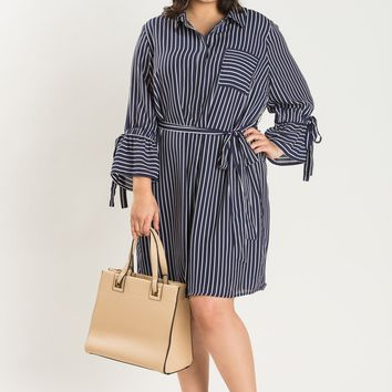 Plus Kendra Navy Stripe Dress