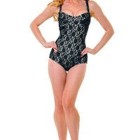 Live And Let Lace Sultry One Piece Swimsuit - Unique Vintage - Cocktail, Evening & Pinup Dresses