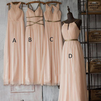 Boho Light Pink Chiffon Bridesmaid Dresses Long Spaghetti Straps Blush Bridesmaid Dress Sweetheart Wedding Bridesmaid Gowns B1