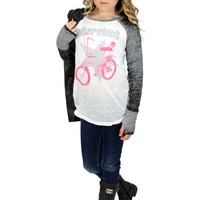 Made U Look Biker Chick Long Sleeve Raglan Tee | Mod Angel