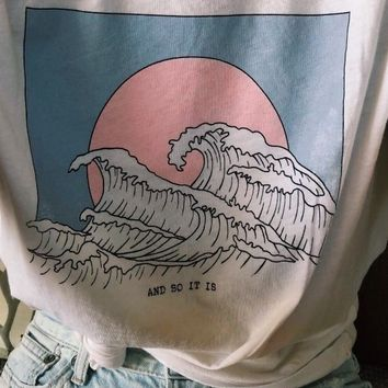 PUDO-XSXAnd So It Is Ocean Wave Aesthetic T-Shirt Women Tumblr 90s Fashion White Tee Cute Summer Tops