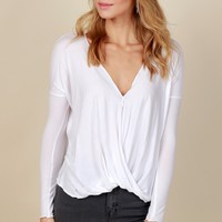 Everyday Classic Wrap Top White