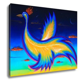 Gallery Wrapped Canvas, Original Art Acrylic Painting Of Phoenix Bird Flying In The Night Sky