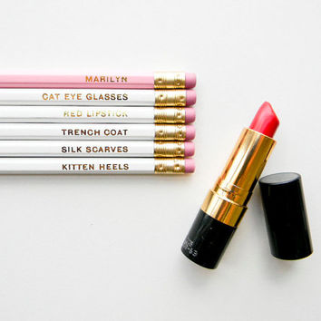 Marilyn Monroe Pencils- The 'Girls with Gumption' Collection, White, Pink, & Gold, Set of 6