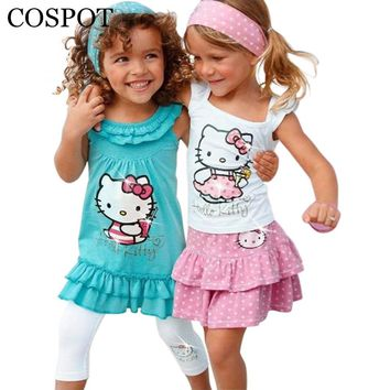 COSPOT Summer Baby Girl Hello Kitty Suits Girls Cotton 3Pcs Sets Headband+Dress+Pants Children Clothing Set Kids 2018 New 10F