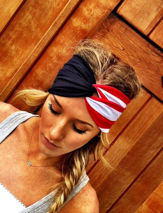 American Flag Headband Olympics Red White and Blue