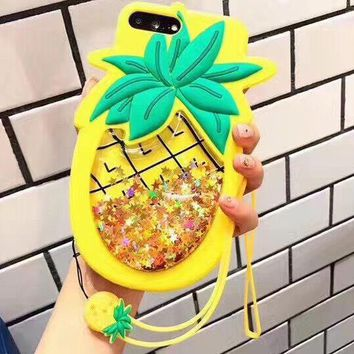 Pineapple iPhone Case - Glitter liquid quicksand iPhone X 6 6S 7 8 Plus