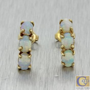 Vintage Estate Solid 14k Yellow Gold 1.50ct Opal Dangle Stud Earrings J8