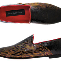 Paul Parkman Men's Slipper Shoes Brown Snake Printed Leather Upper & Leather Sole