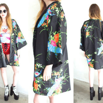 Vintage PEACOCK KIMONO Black Bell 3/4 Wide Sleeve Duster // Japenese Cover Up // Ethnic Boho Gypsy Grunge // XS / Small / Medium / Large