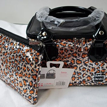 Caboodles Tapered Tote Sassy Makeup Cosmetic Bag (Cheetah Print w/ Sequins & Bonus Bag)