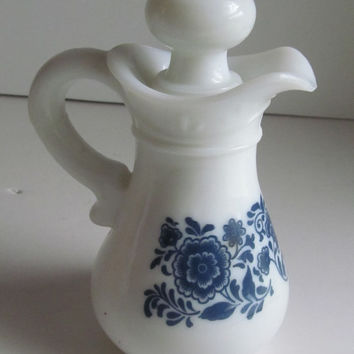 Blue and White Pitcher Avon Milk Glass Perfume Decanter Blue and White Decor Avon Skin So Soft Bath Oil Avon Bath oil