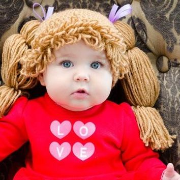 Baby Girl Cabbage Patch Crochet Hat / Hair