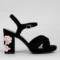 Wide Fit Black Floral Embroidered Block Heels | New Look
