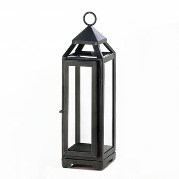 Iron Tall Slate Candle Holder Lantern