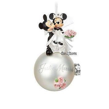 Licensed cool 2016 Disney Store Mickey & Minnie Mouse Wedding Married Ball Christmas Ornament