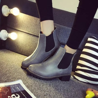 Shoes  Elastic Round Women's Boots with Thick Boots = 1946189444
