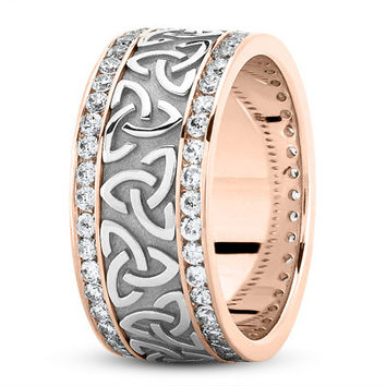 Wedding Band - 18 Karat Rose Gold Two Tone Celtic Knot Diamond 9mm Wide Wedding Ring