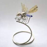 """Mechanical Insect """"Demonfly"""" Clockwork Dragonfly Miniature Insect Arthropod Mayfly Sculpture Creepy Steampunk Justin Gershenson-Gates"""
