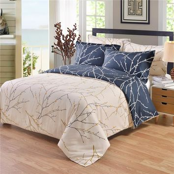 3/4pcs Superior Duvet Cover Brief Thin Branch Bedding set Twin/Full/Queen/King size Bed Set Dark Blue/Gray White Double-side use
