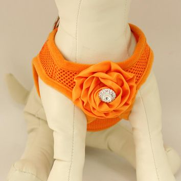 Dog harness, Dog harness with Orange Rhinestone rose, Mesh harness ,Breathable, Girl puppy harness, Black, purple, orange or pink harness