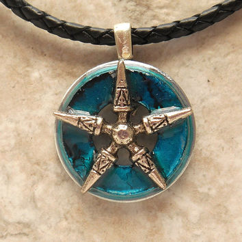 star necklace: blue - mens necklace - mens jewelry - boyfriend gift - leather necklace - the artisan group - unique jewelry - mens gift