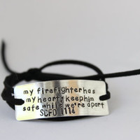 firefighter wife bracelet, firefighter girlfriend jewelry, firefighter jewelry, firefighter prayer, firefighter mom, handstamped,