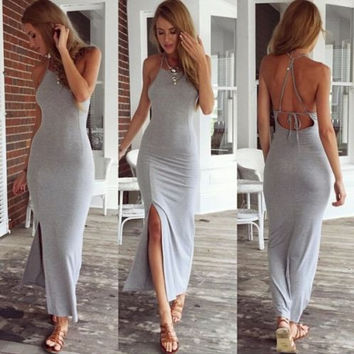 New Fashion Sexy Women Summer Cotton Boho Long Maxi Party Dress Backless High Slit Gray Beach Dresses = 4904729156