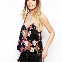 ASOS Crop Cami Top with Double Straps in Floral Print - Floral