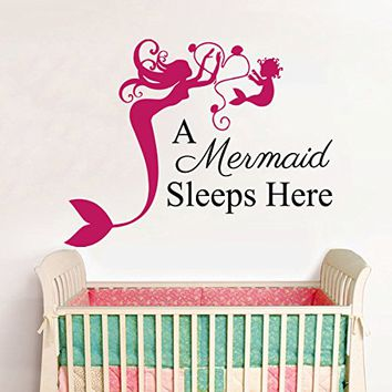 Wall Decals Quotes Vinyl Sticker Decal Quote A Mermaid Sleeps Here Home Nautical Decor Bedroom Nursery Baby Room Interior NS445