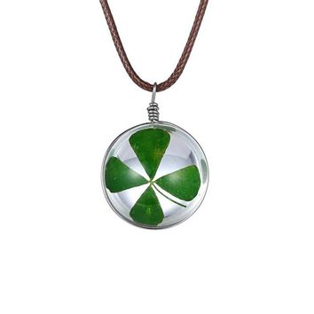 Fashion Crystal glass Ball Clover Pendant Necklace