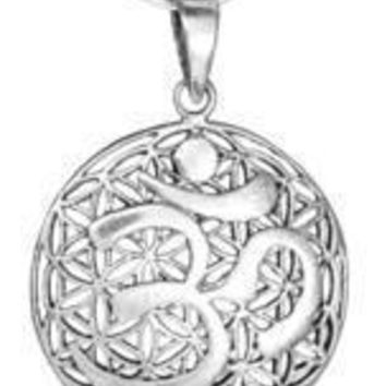 Sterling Silver Flower of Life Om Pendant