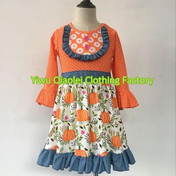 Sweat Girls Hot Selling New Design Cute pumpkin Baby dress Boutique Girl kids halloween Clothing