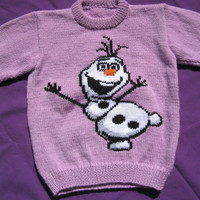HAND KNITTED OLAF WINTER JUMPER PURPLE GIRLS AGES 3 - 4 YEARS frozen