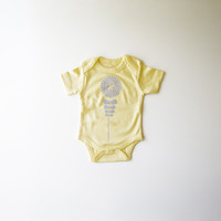 Flower in Lavender on Yellow Organic Bodysuit