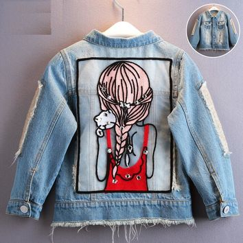 2018 Autumn Baby Girls Hole Denim Jacket Coats Children Outwear Sequins Little Girl Design Kids Cartoon Clothes For 3 to 14 Yrs
