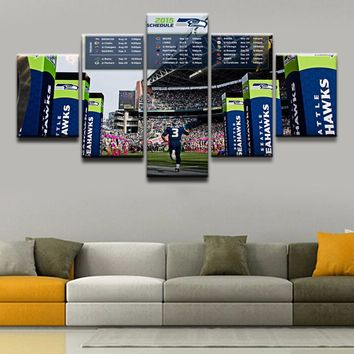 Pictures One Set Framework Living Room Modern Decorative Poster 5 Panel Sports Seattle Seahawks On Site Wall Art Canvas Painting