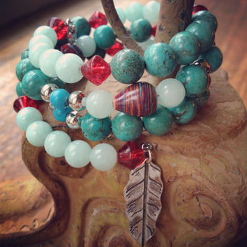 Beaded Memory Wire Wrap Bracelet, Silver Heart and Feather Charm