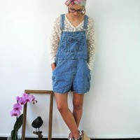 Rad 90s Vintage light faded Blue Short Dungarees Playsuit from Vulgar