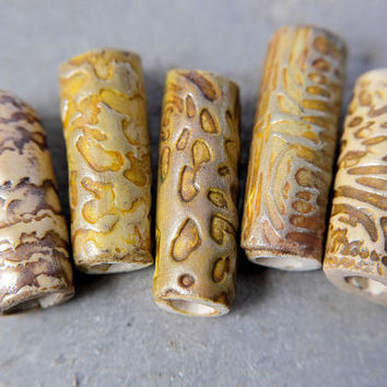 Five Rustic Organic Textured Artisan Tube Beads - polymer clay - pendant, necklace, assemblage etc