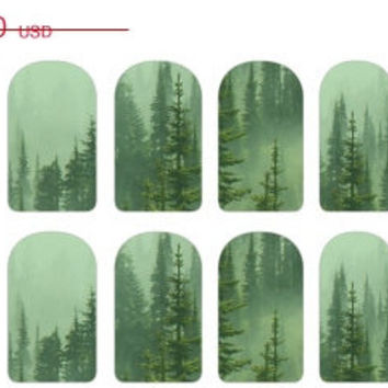 SALE Mint Green Christmas Trees Nail Decals